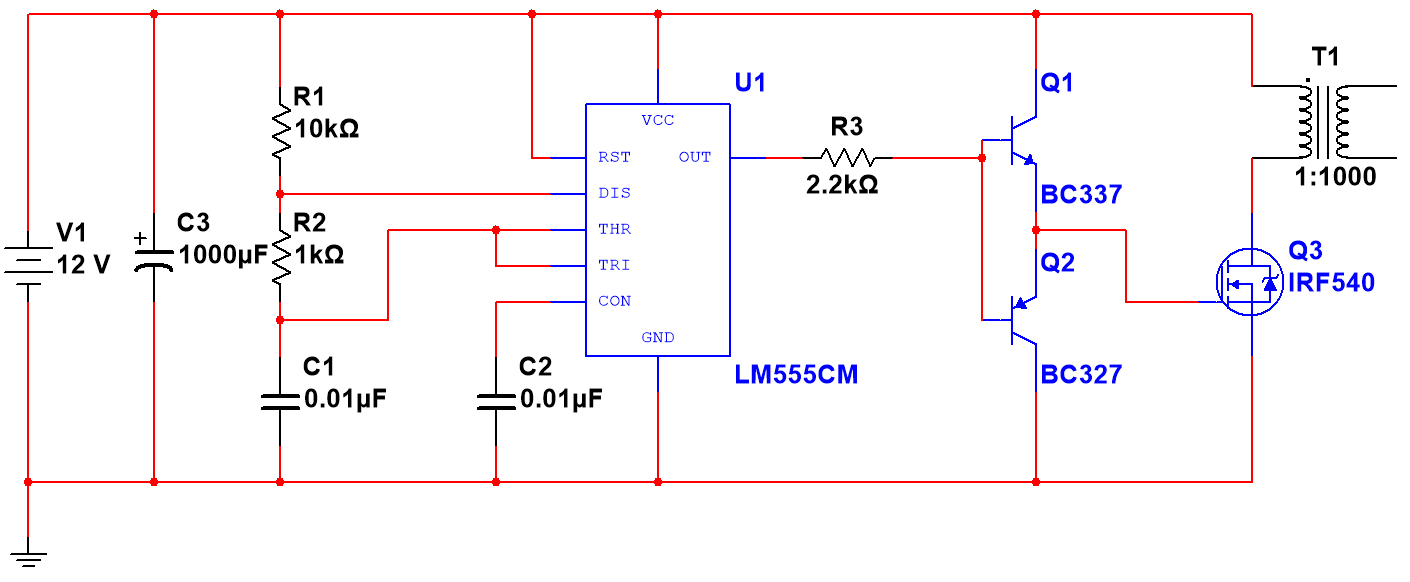 Everything in this circuit to the left of R3 is just a simple 555  square-wave generator. I used an online calculator to come up with  reasonable values.
