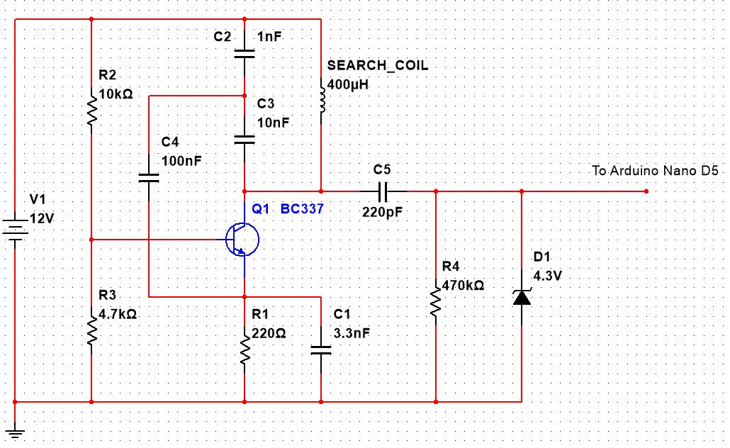 Metaldetector on Colpitts Oscillator Design