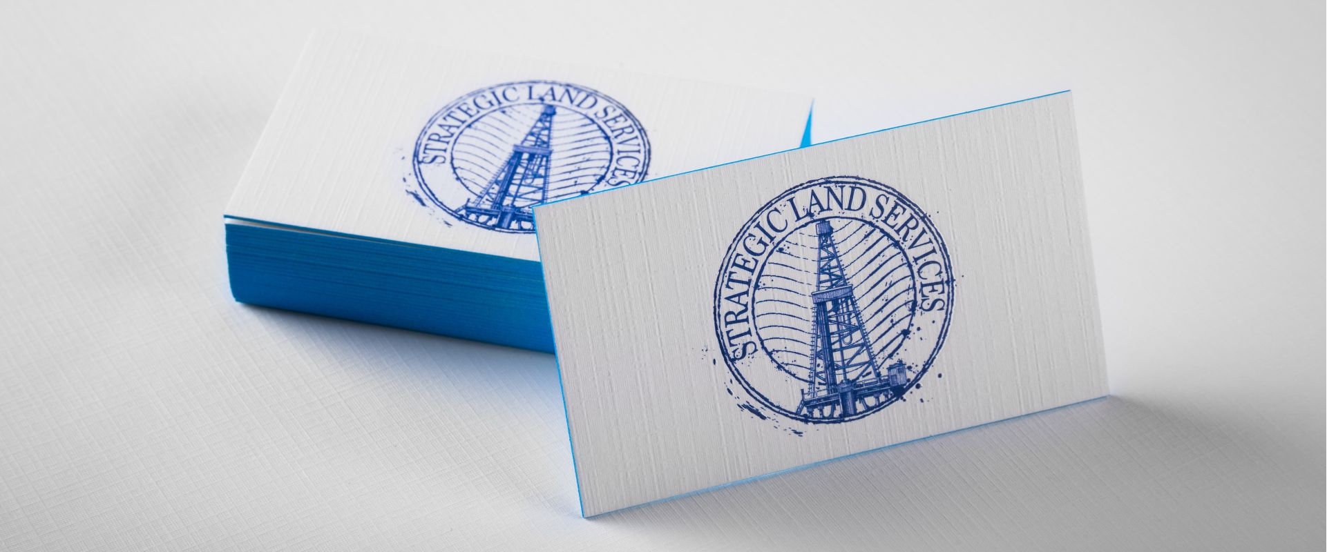 linen business cards with blue colored edges - Linen Business Cards