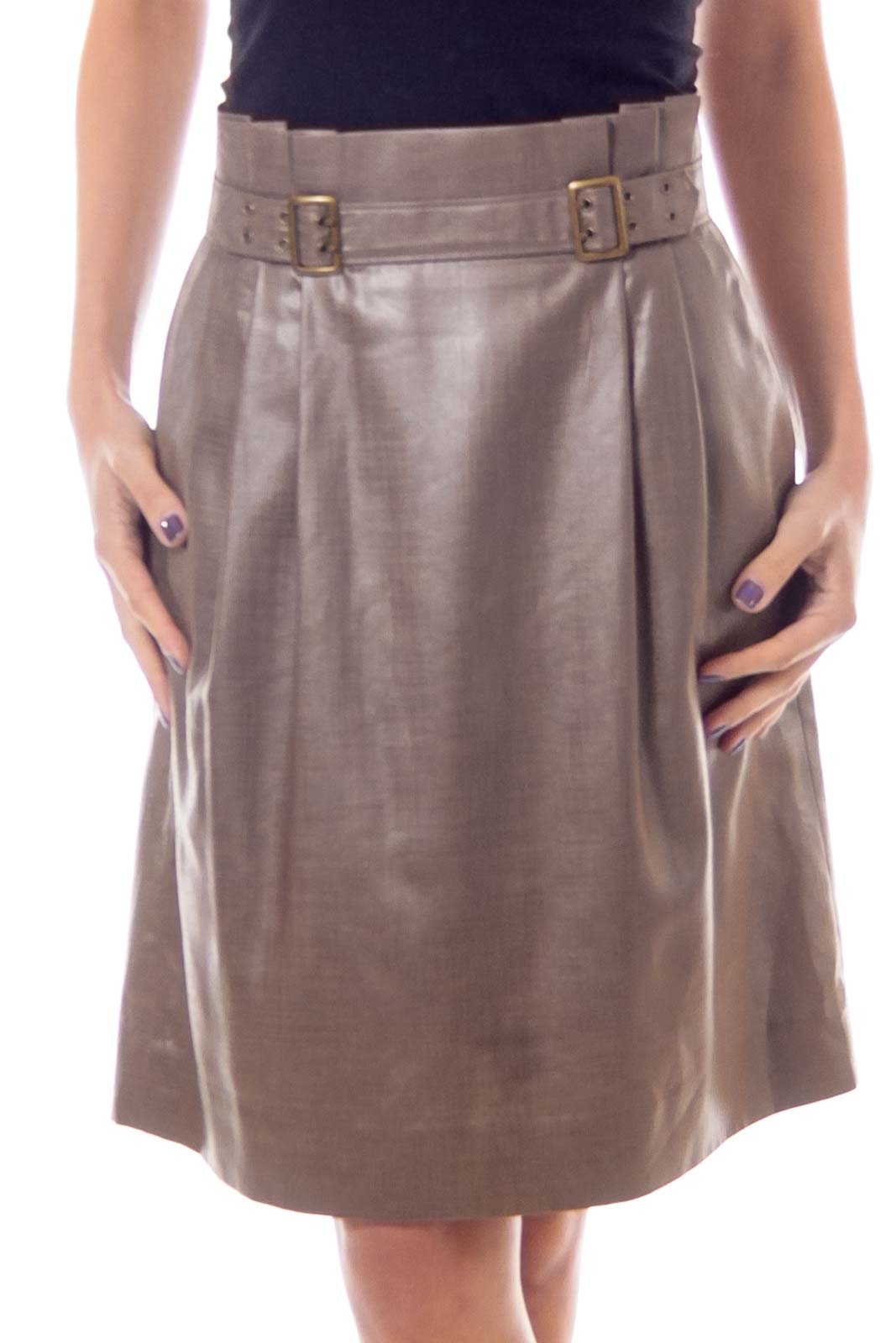 Taupe Shiny High Waist Buckled Skirt