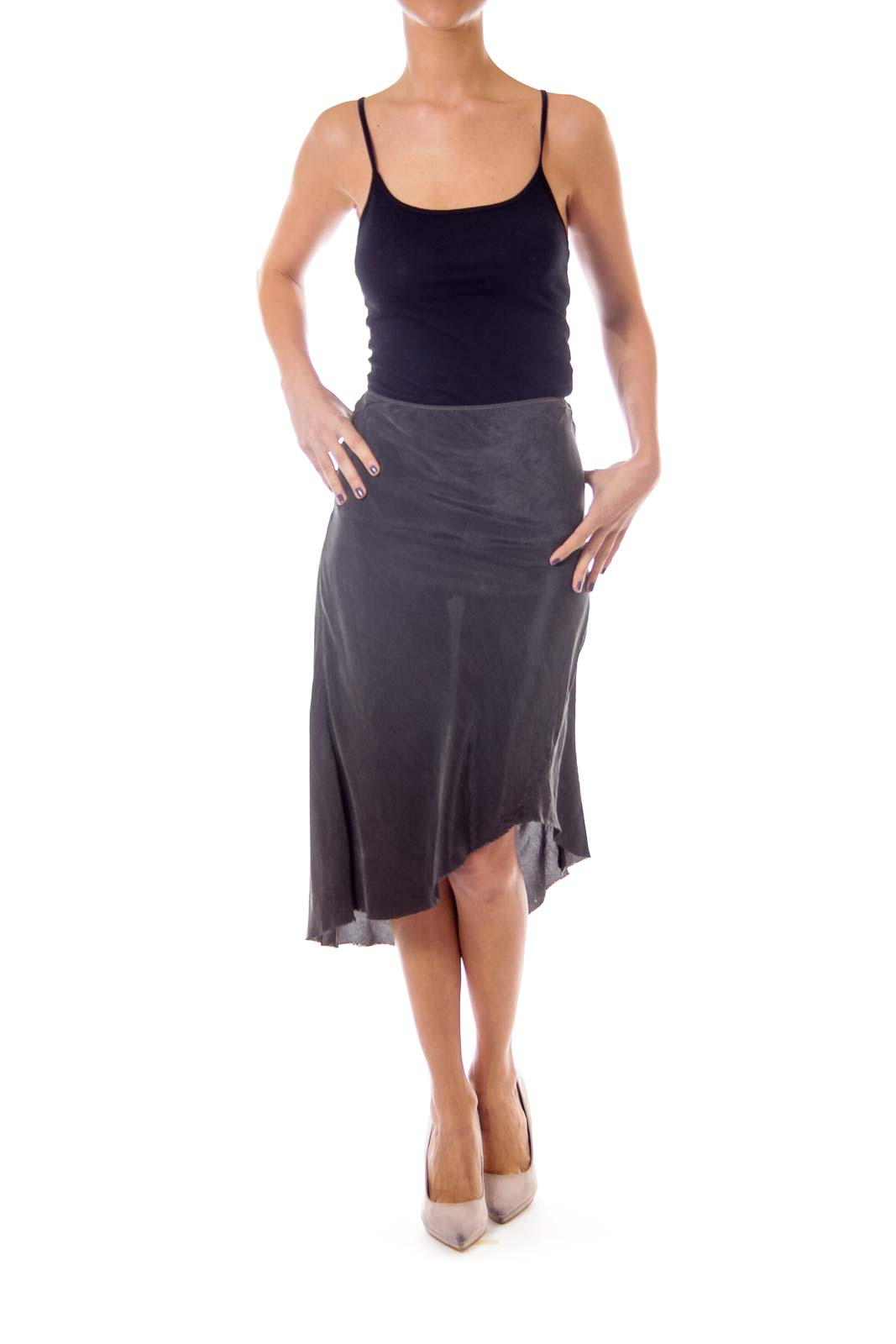 Gray Asymmetric Skirt