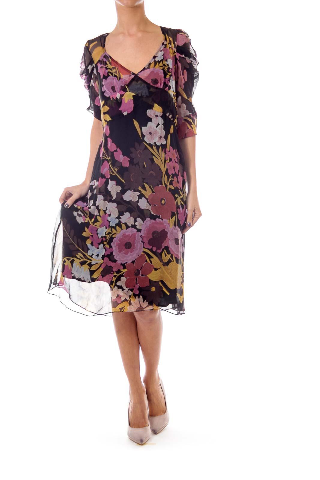 Black Flower Print See Through Dress