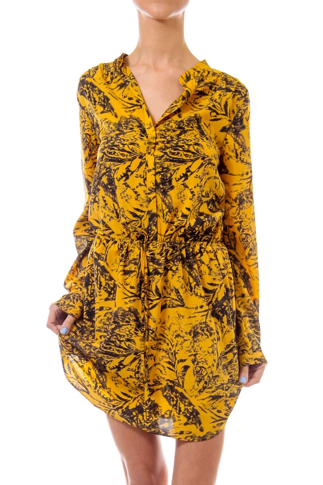 Mustard & Black Scrunch Waist Dress
