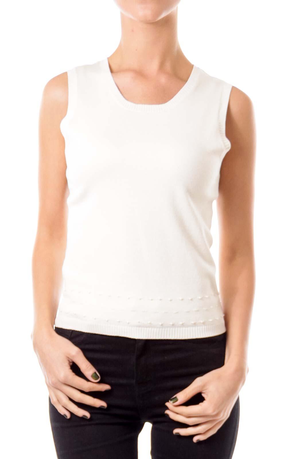 Cream Metallic Beaded Knit Vest
