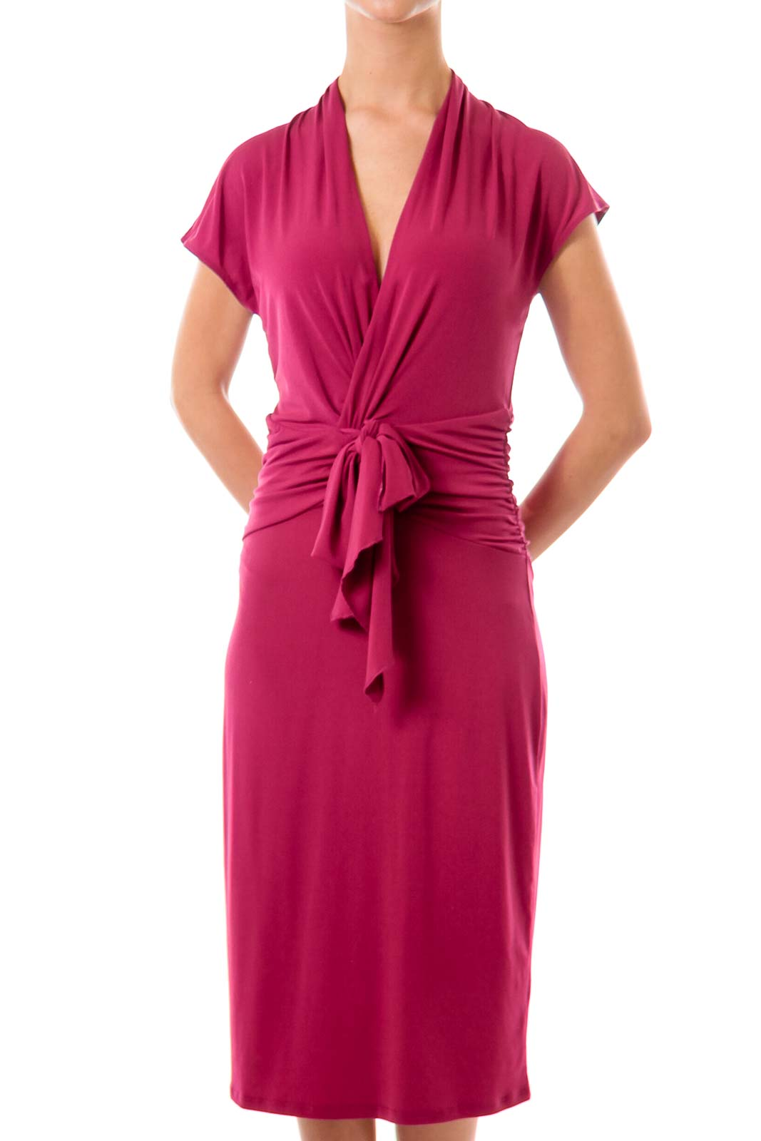 Pink Scrunched Jersey Dress