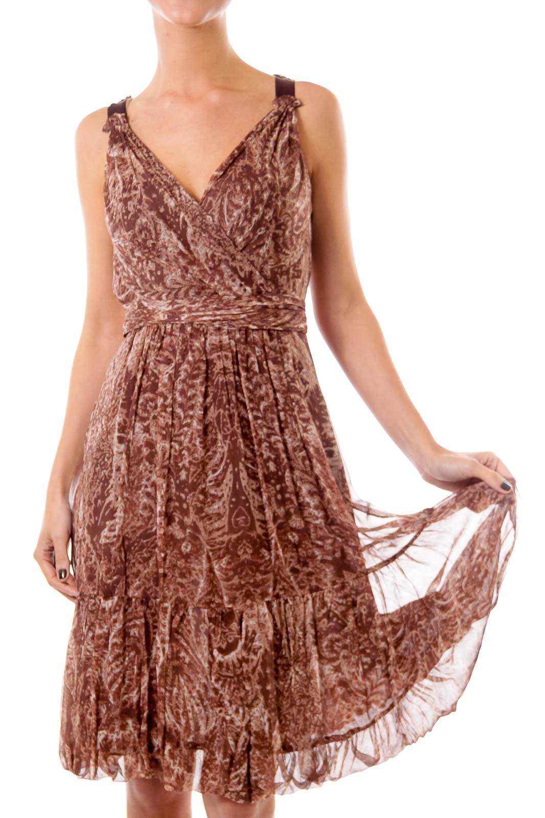 Brown Chiffon Empire Dress