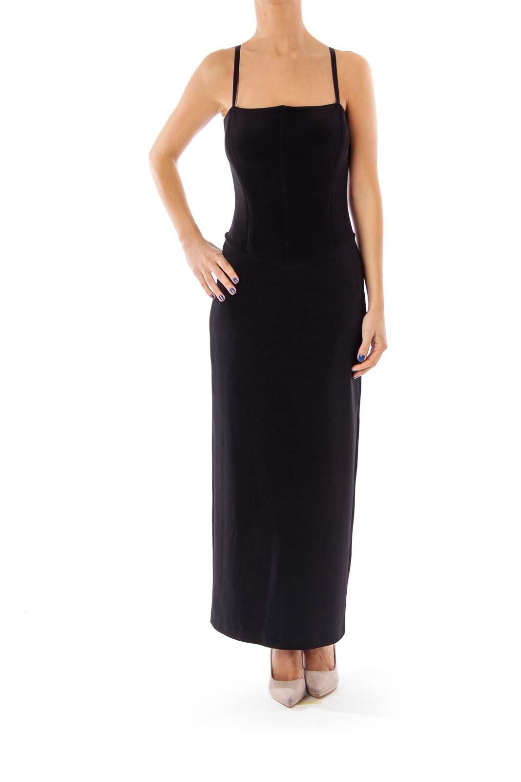 Black Open Back Evening Dress