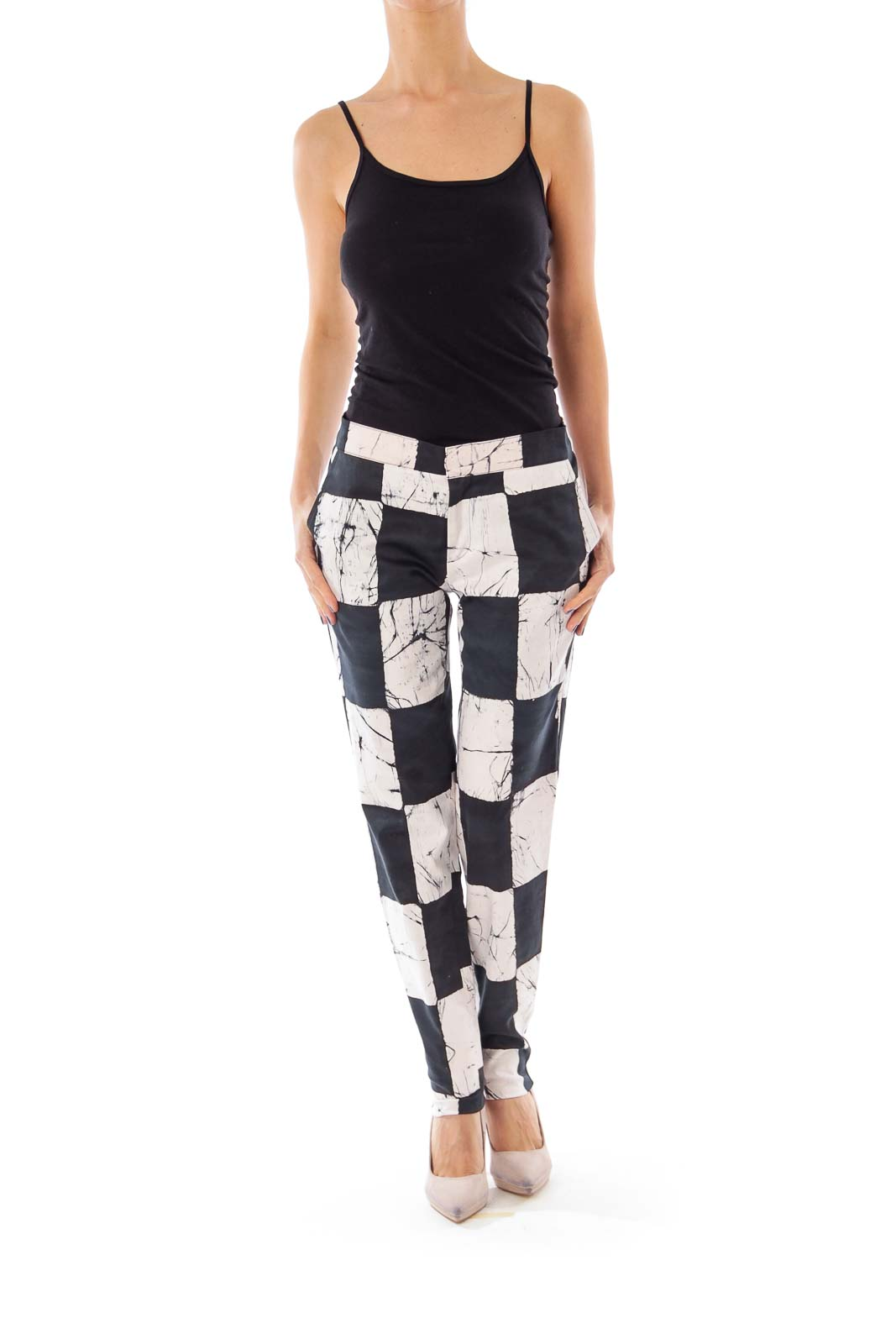 Black & White Block Skinny Pants