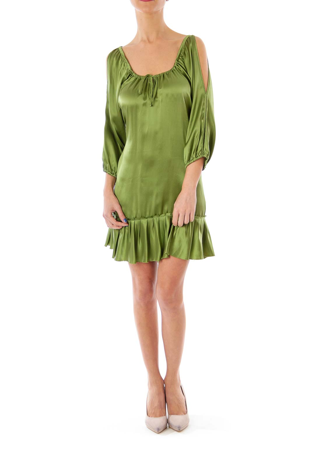 Green Silk Cold Shoulder Dress
