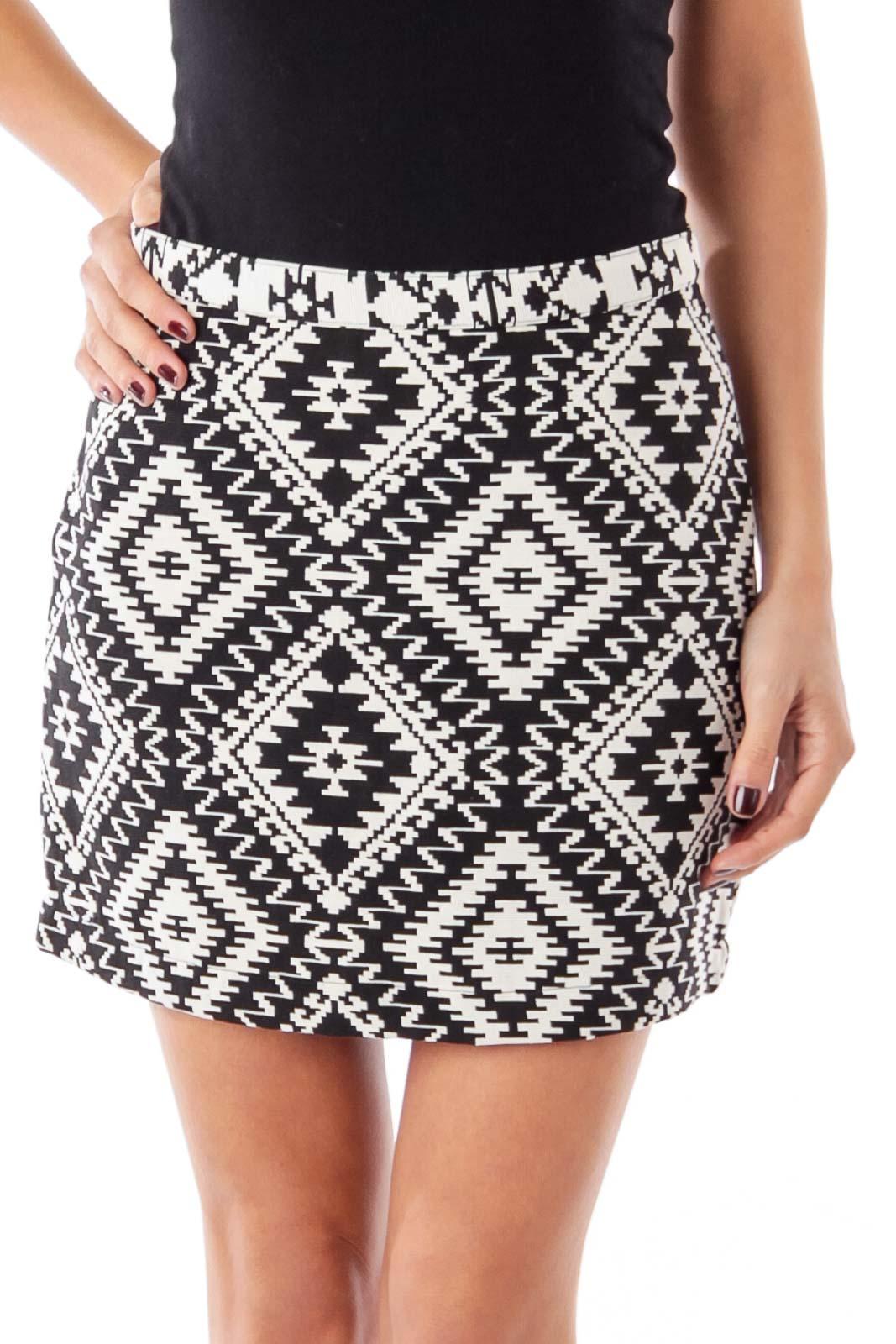 Black & White Geometric Print Mini Skirt
