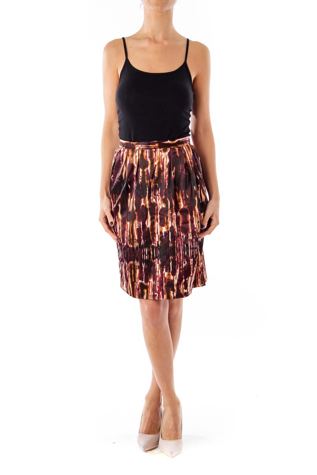 Brown & Red Dye Print Skirt