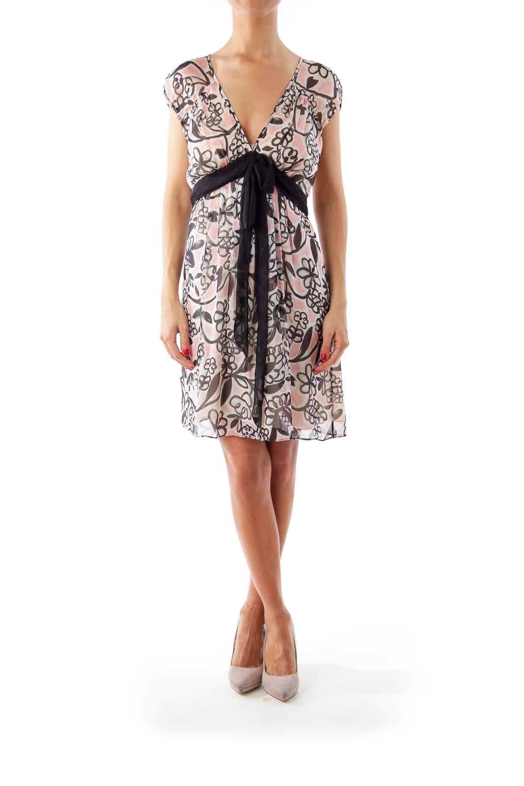 Pink & Black Floral Print Dress