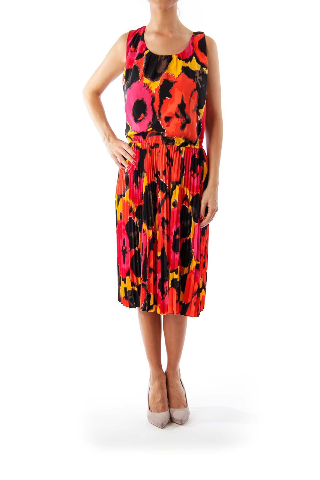 Red & Black Pattern Print A-Line Dress