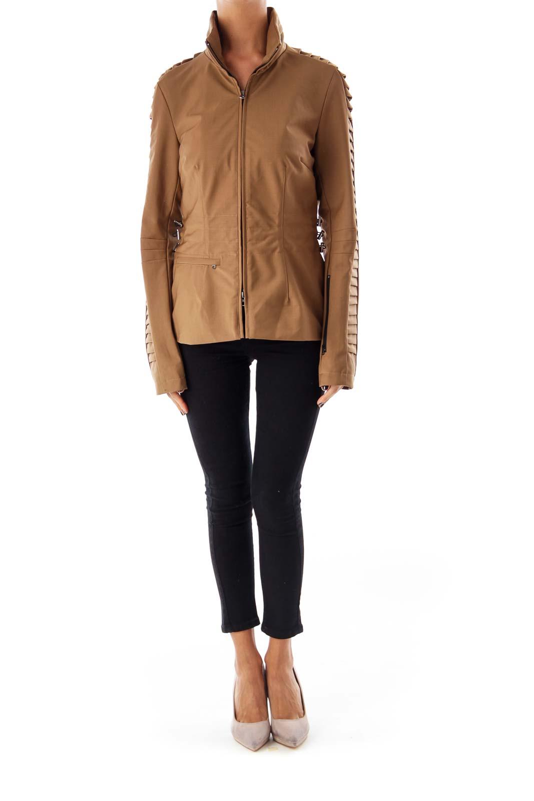 Brown Sleeve Detail Jacket