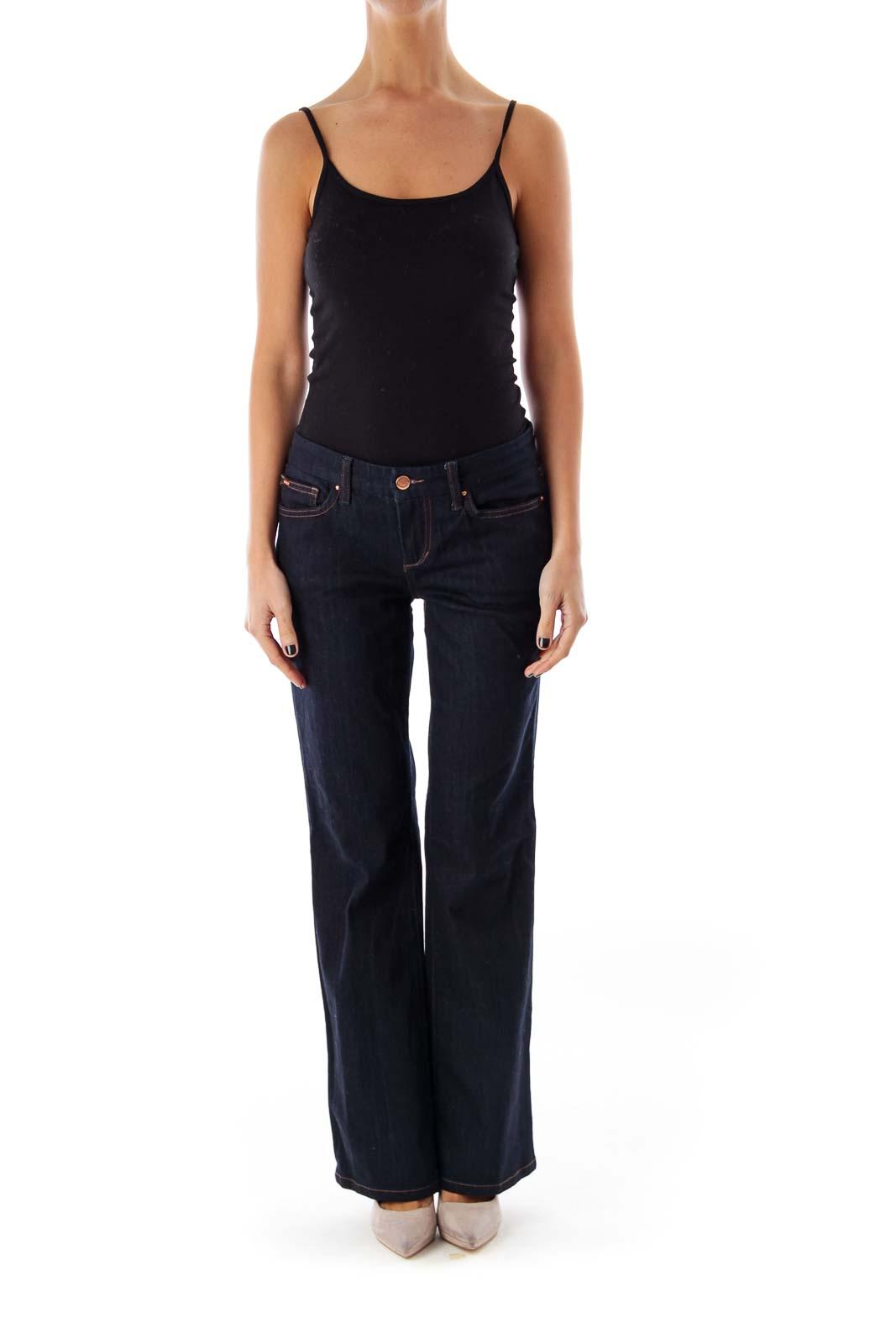 Dark Blue Low-Waist Flare Jeans