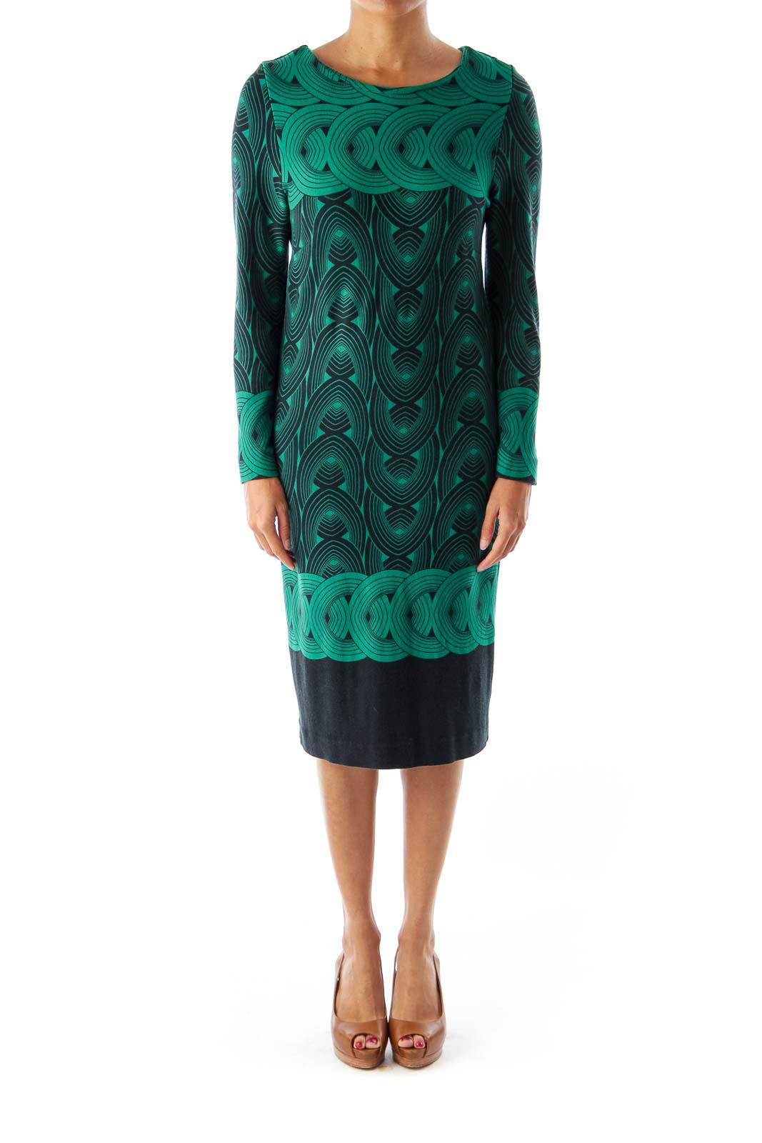 Green & Black Tribal Midi Dress