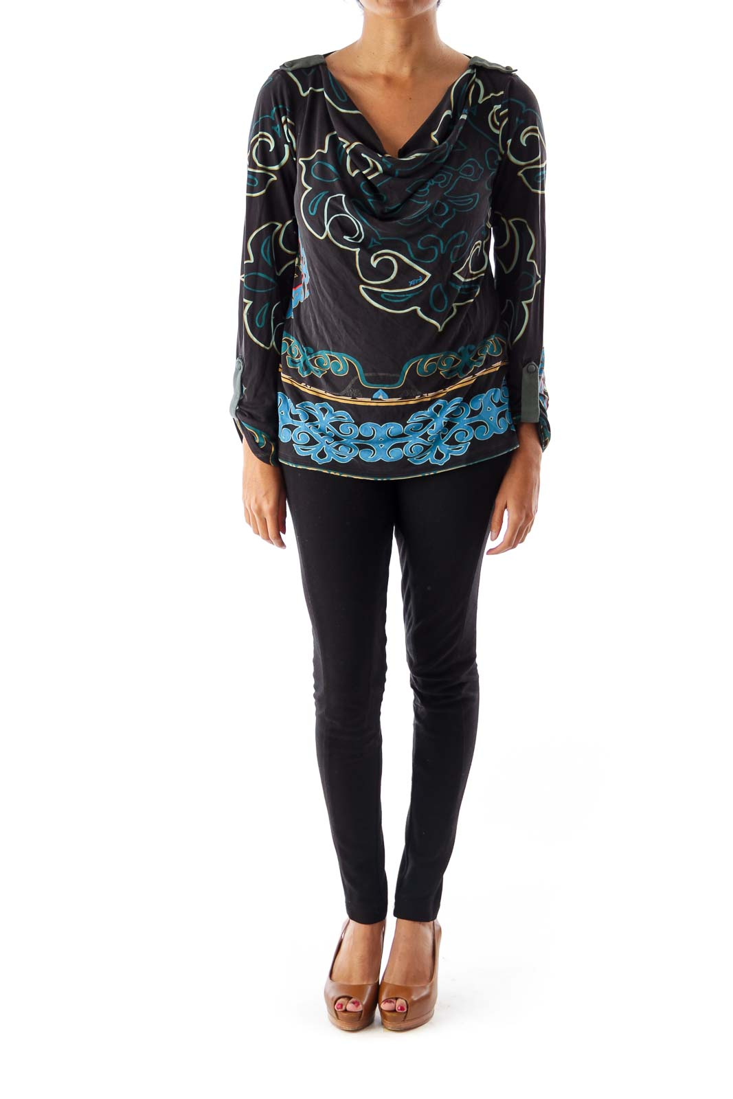 Black Print Drape Neck Top
