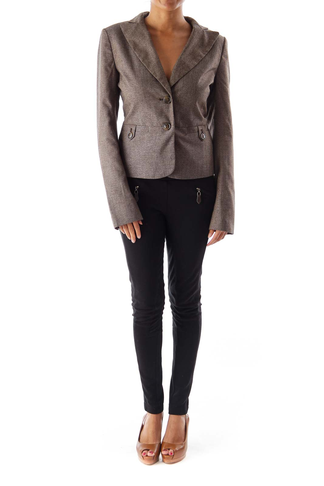 Heather Brown Front Pocket Blazer