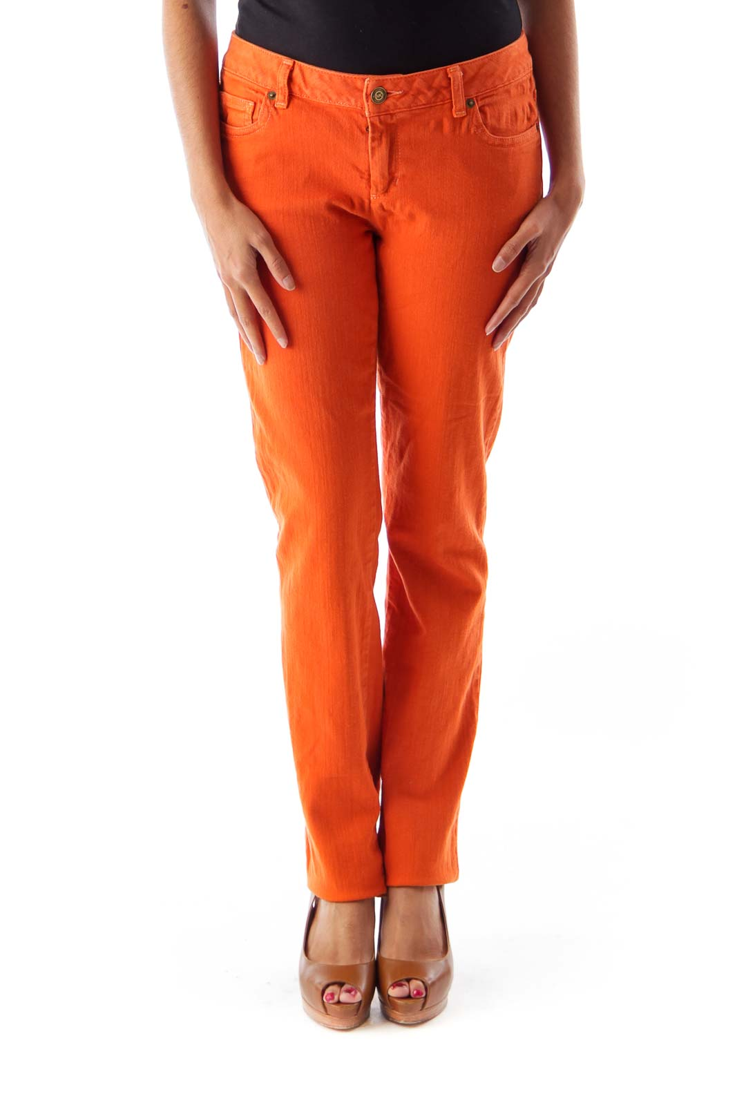 Orange Straight Denim Pants