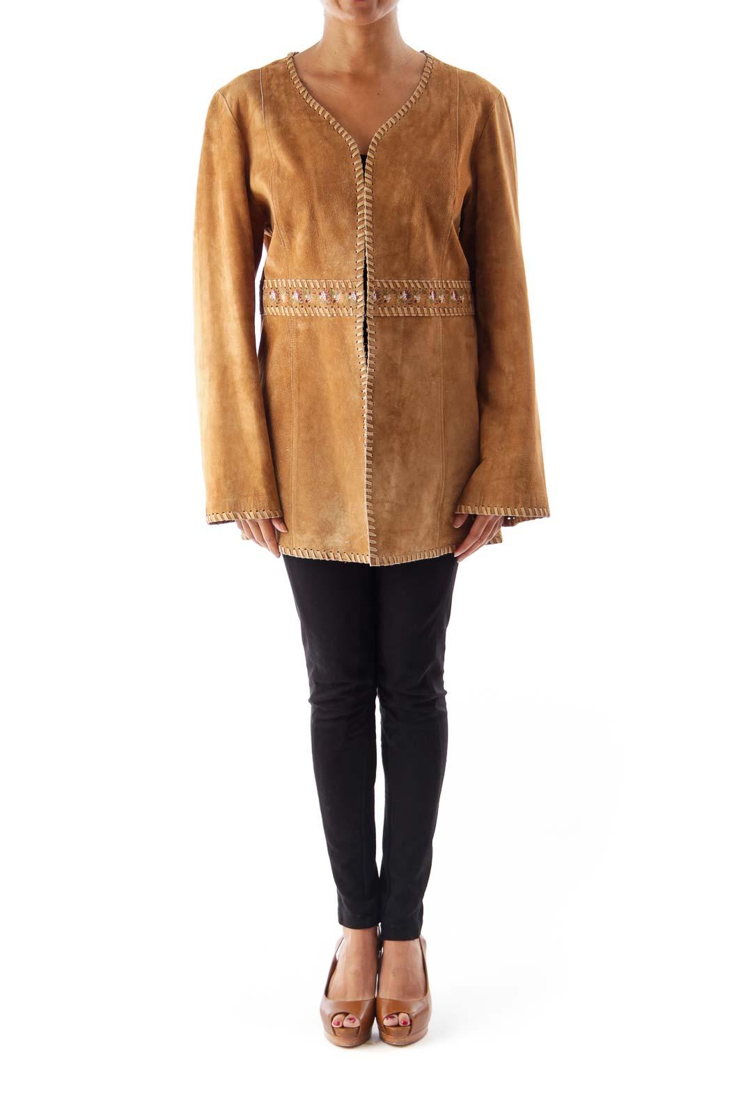 Brown Embroidered Boho Jacket