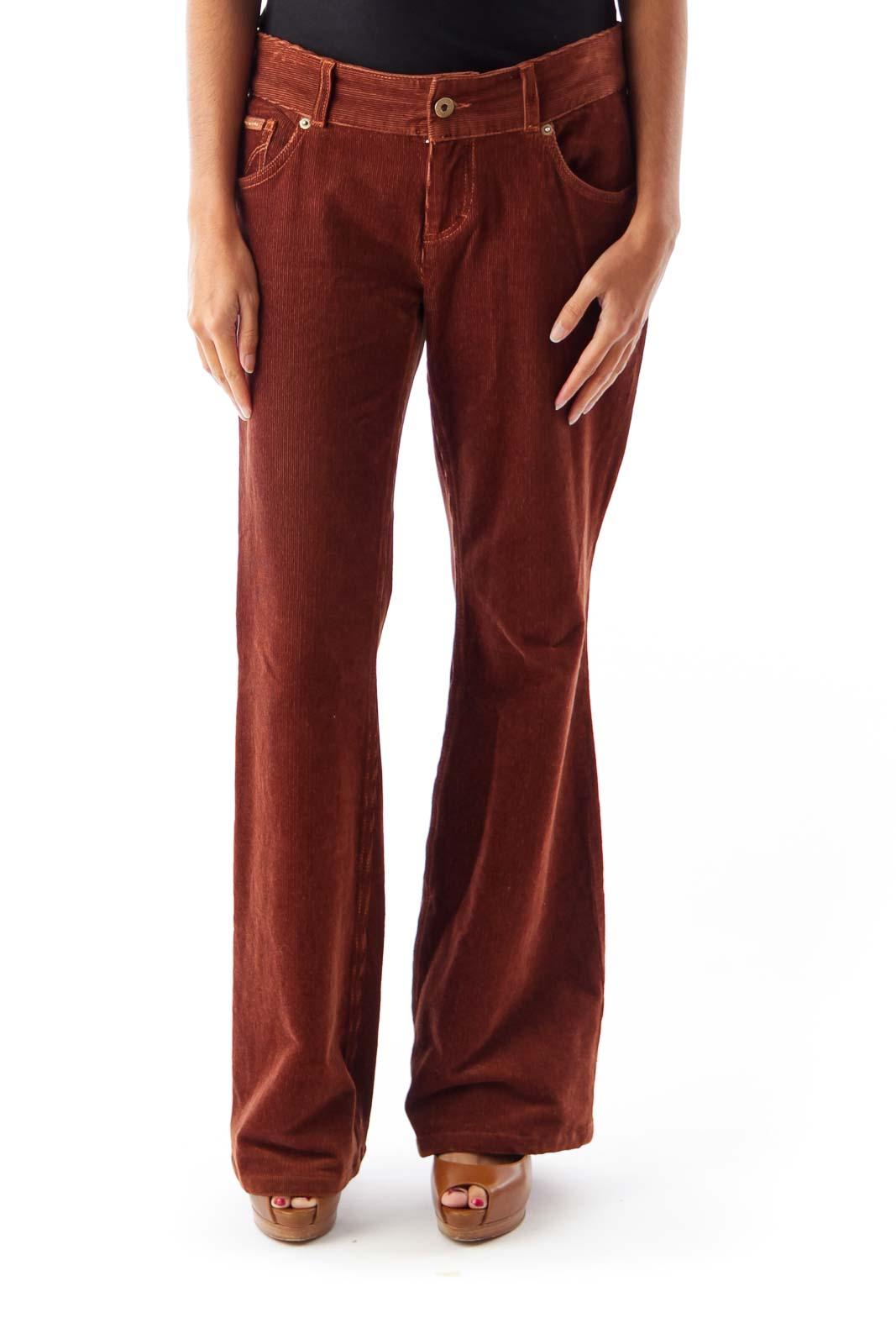 Brown Corduroy Flare Pants