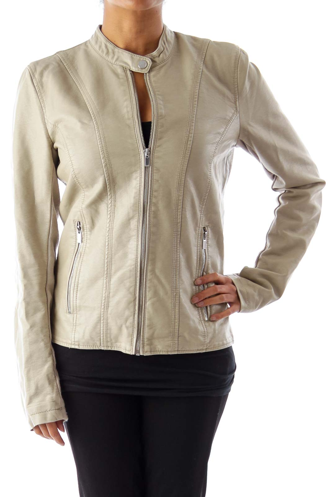 Beige Zipper Jacket