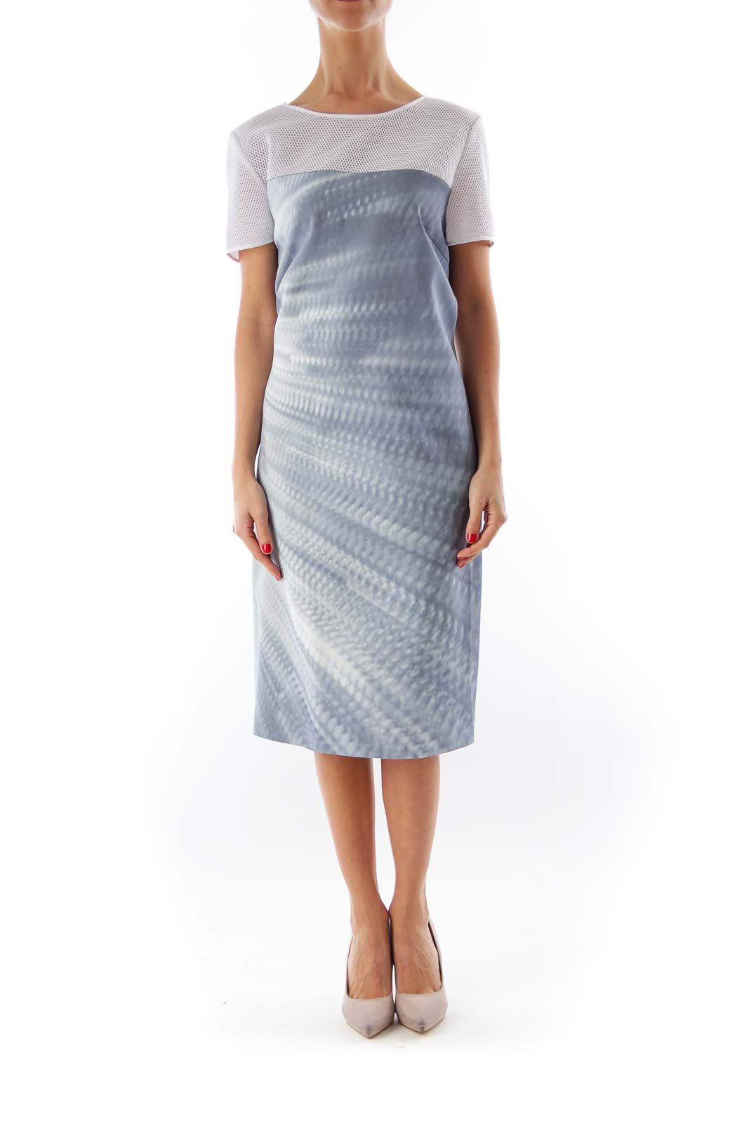 Gray Net Shoulder Shift Dress