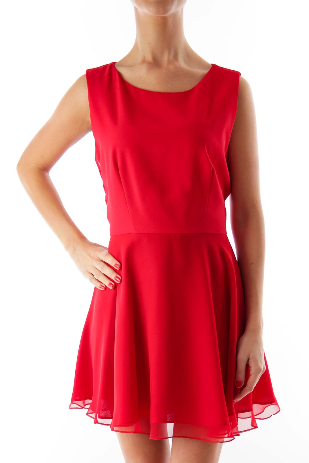 Red A-Line Petite Mini Dress