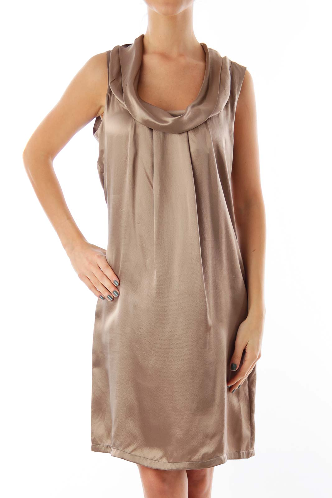 Taupe Turtleneck Mini Dress