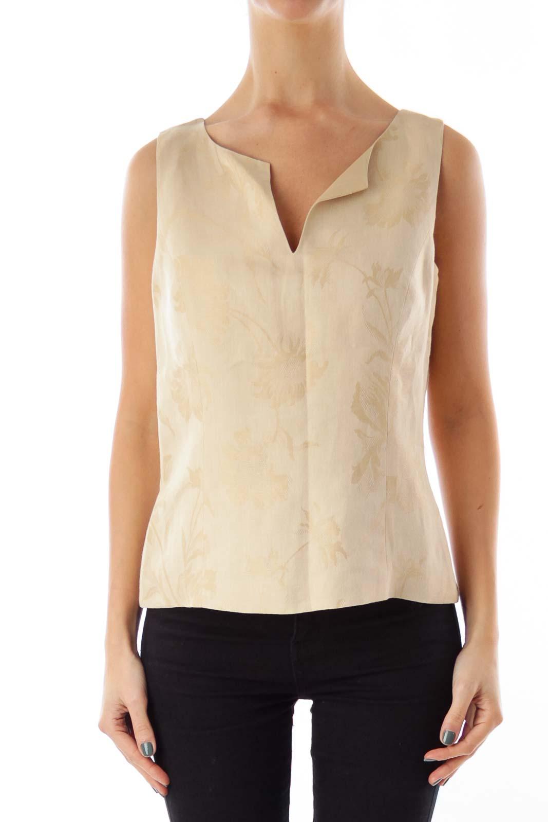 Beige Floral Sleeveless Shirt