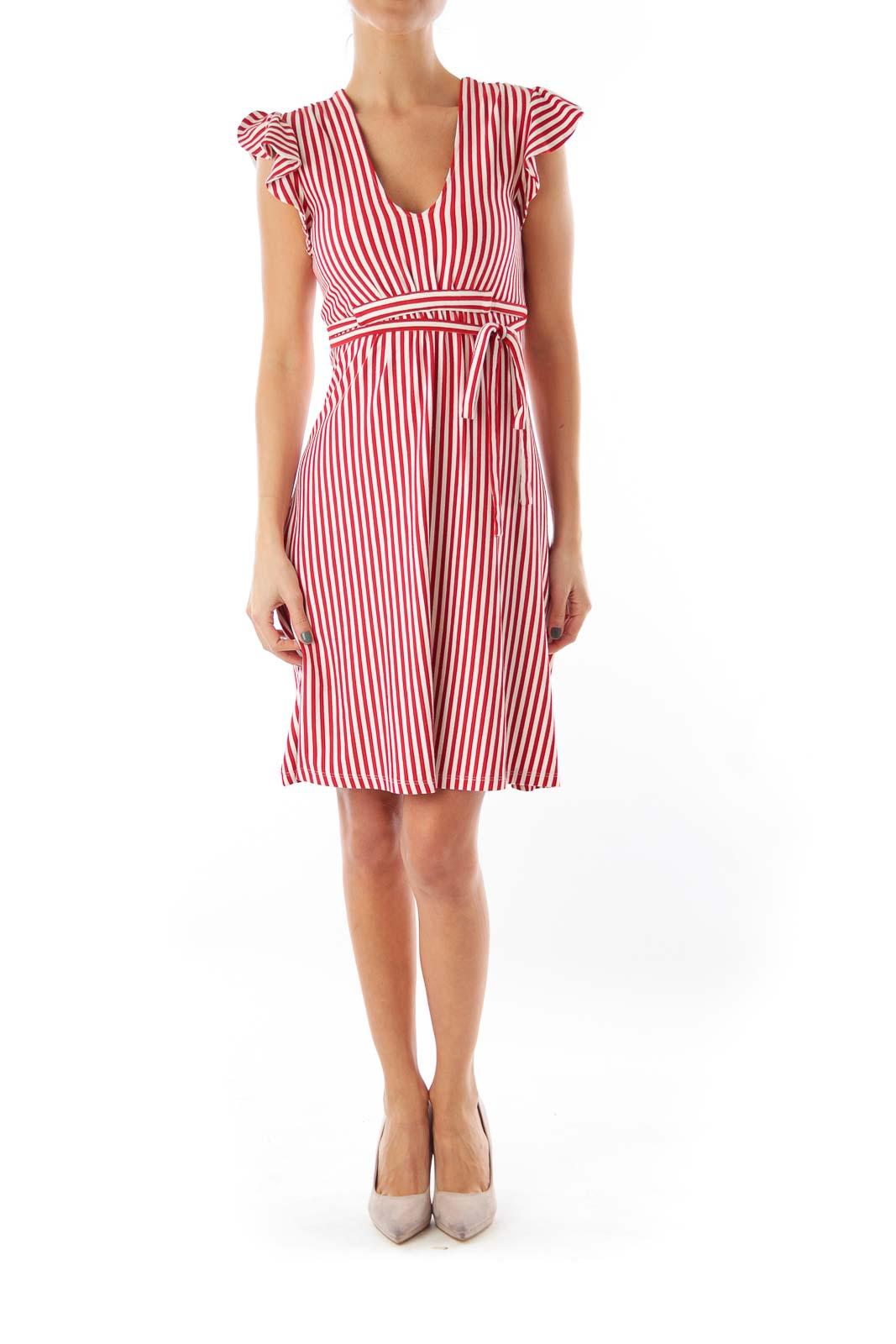 Red Stipe Cap Sleeve Dress