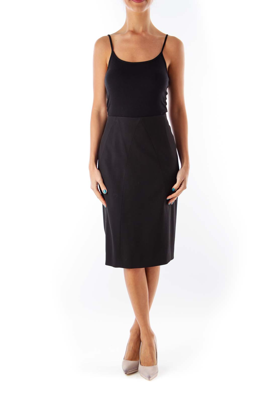 Black Midi Shift Skirt