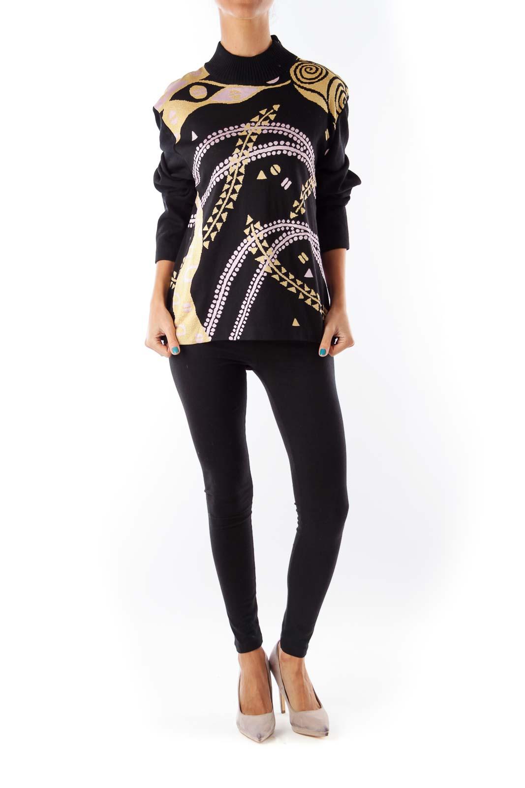 Black Metallic Print Sweater