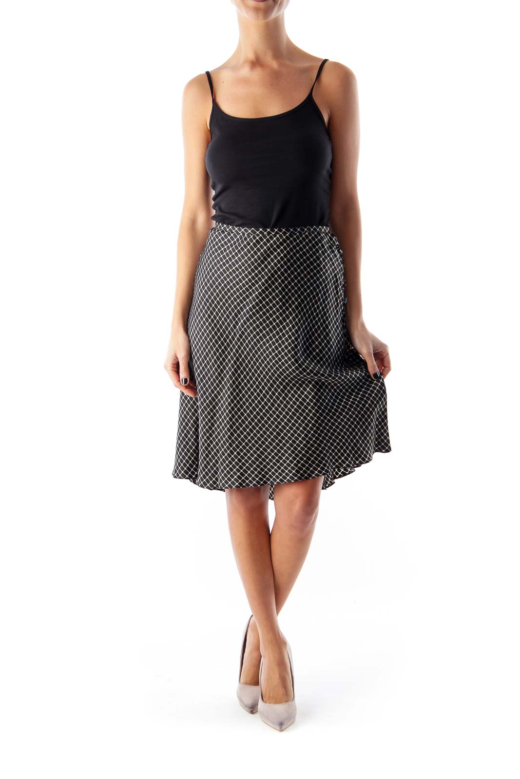 Black & Gray Print Skirt