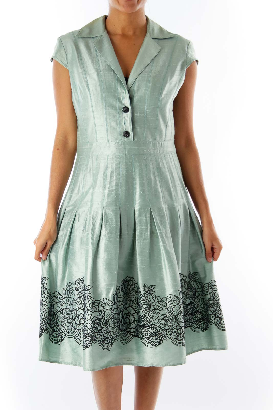 Green Embroidered A Line Dress