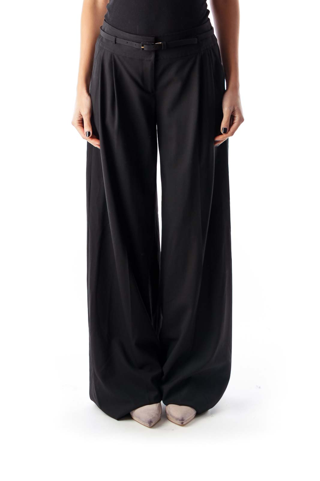 Black Belted Wide Pants