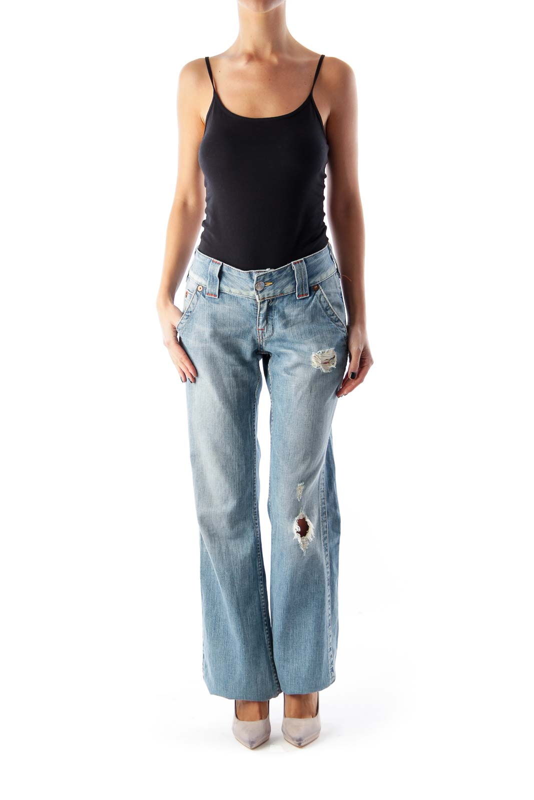 Light Blue Destroyed Jeans