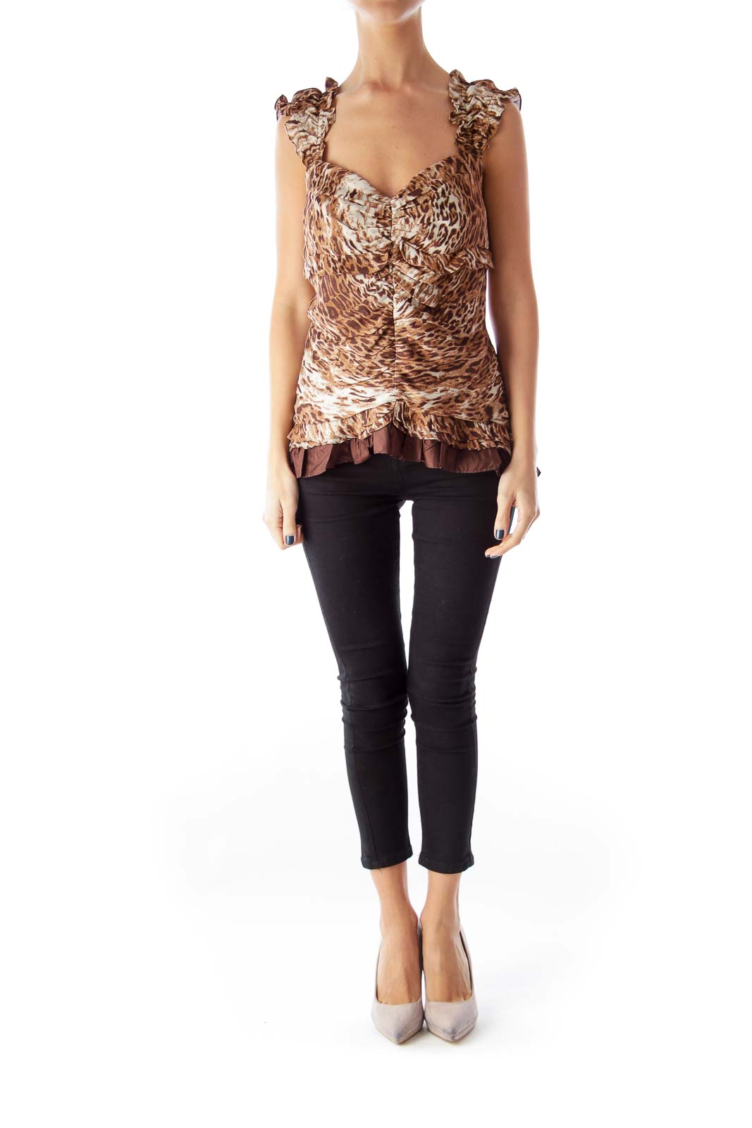 Animal Print Ruffle Top