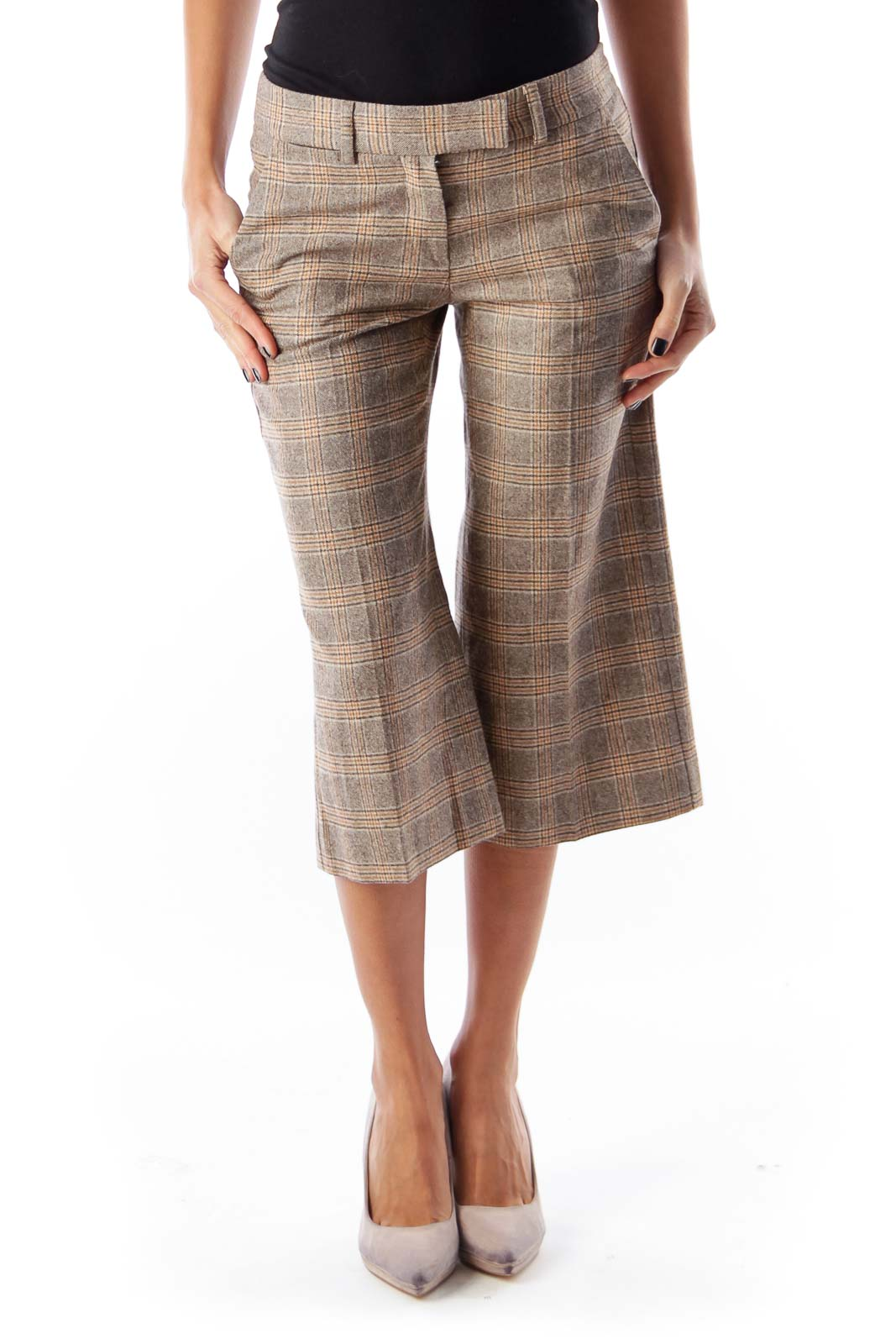 Beige Plaid Crop Pants