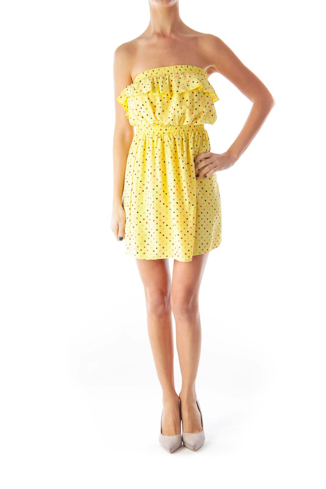 Yellow Polka Dot Strapless Dress