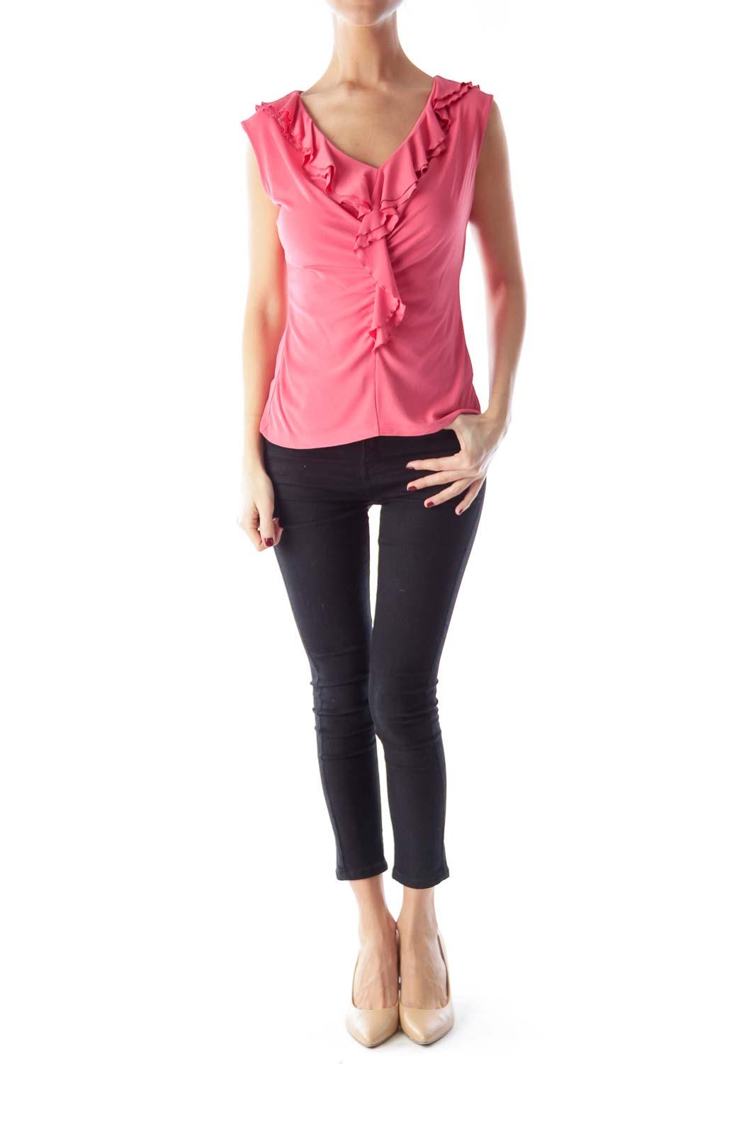 Pink Ruffle Silk Shirt