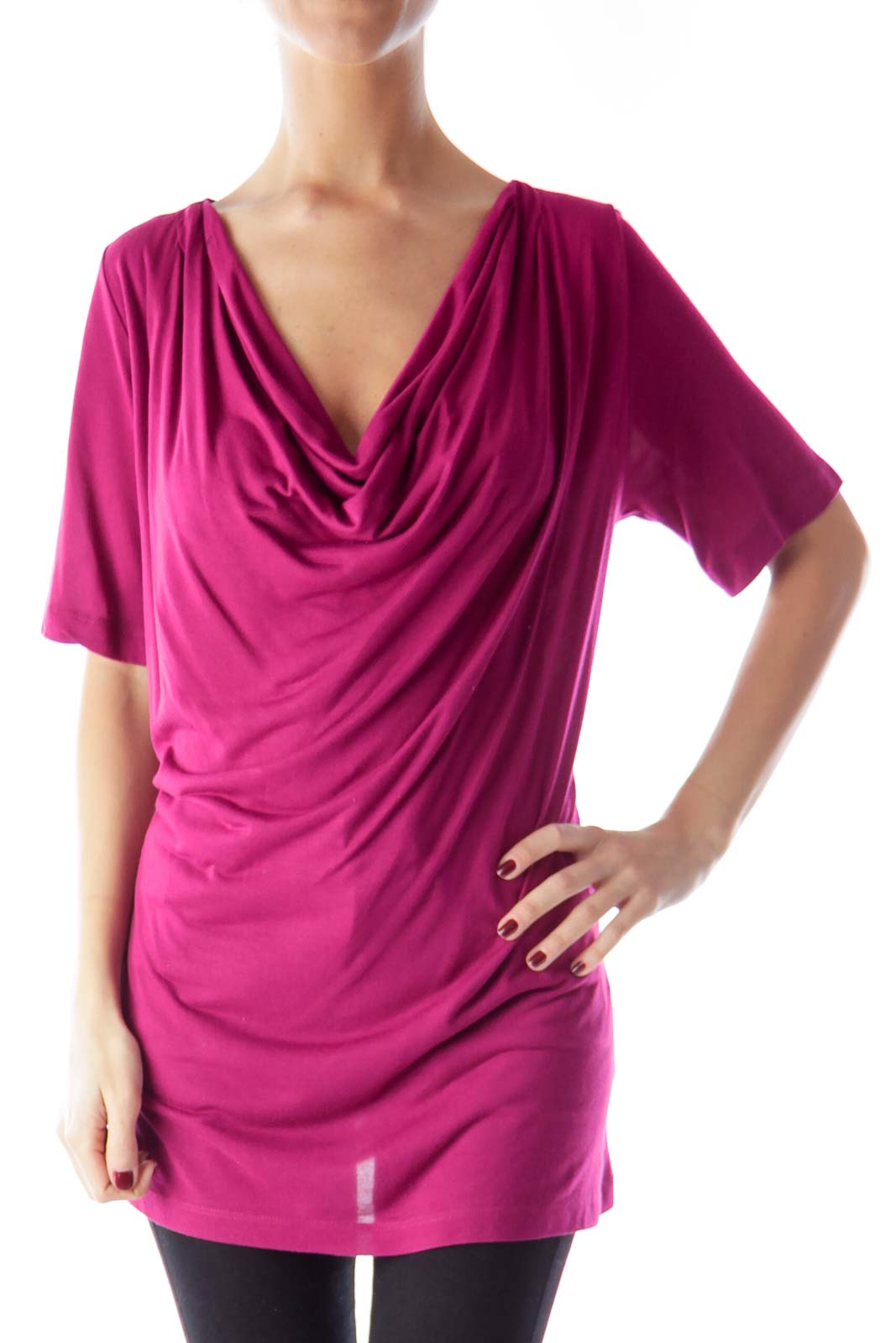 Magenta Draped Shirt