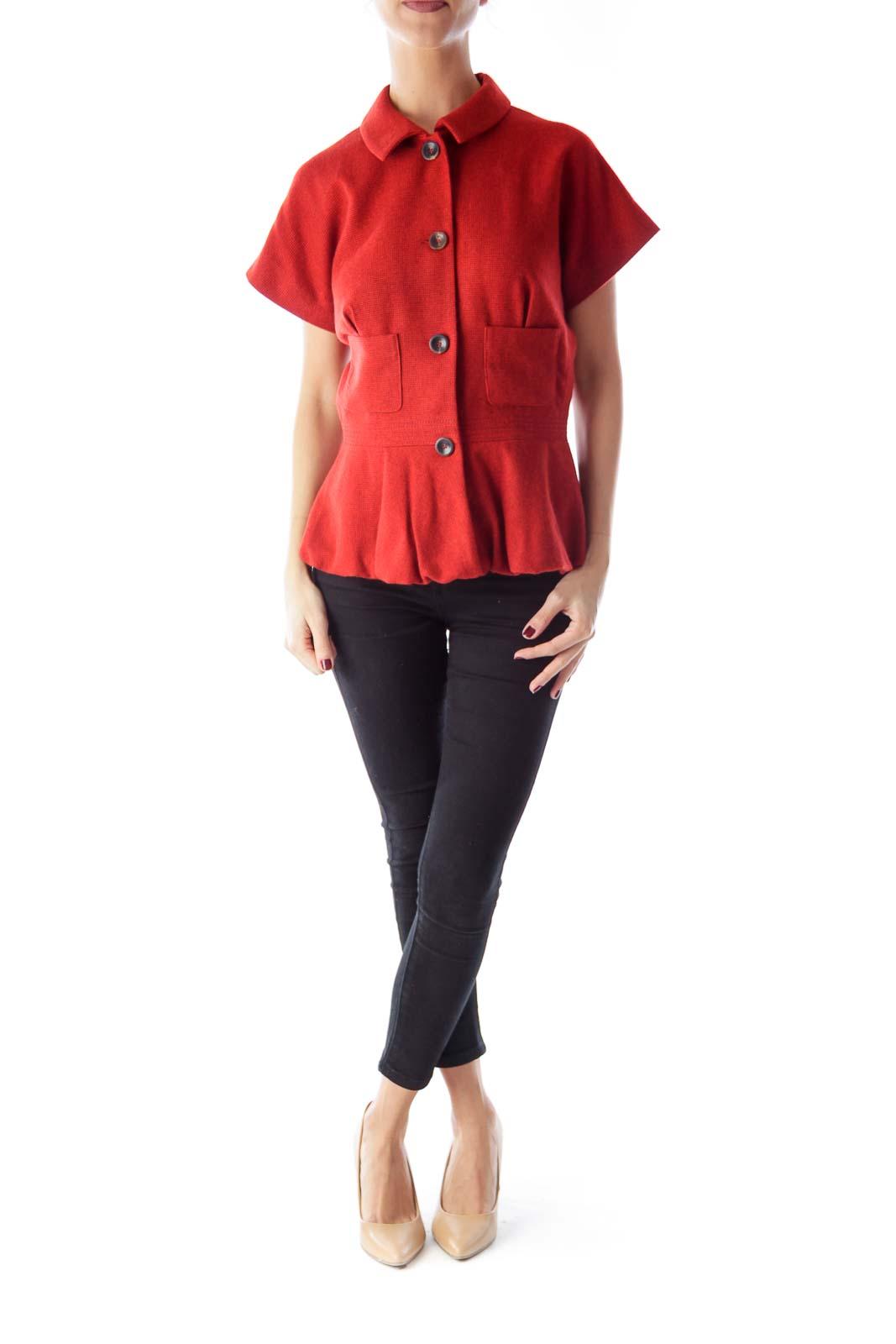 Orange Short Sleeve Peplum Jacket