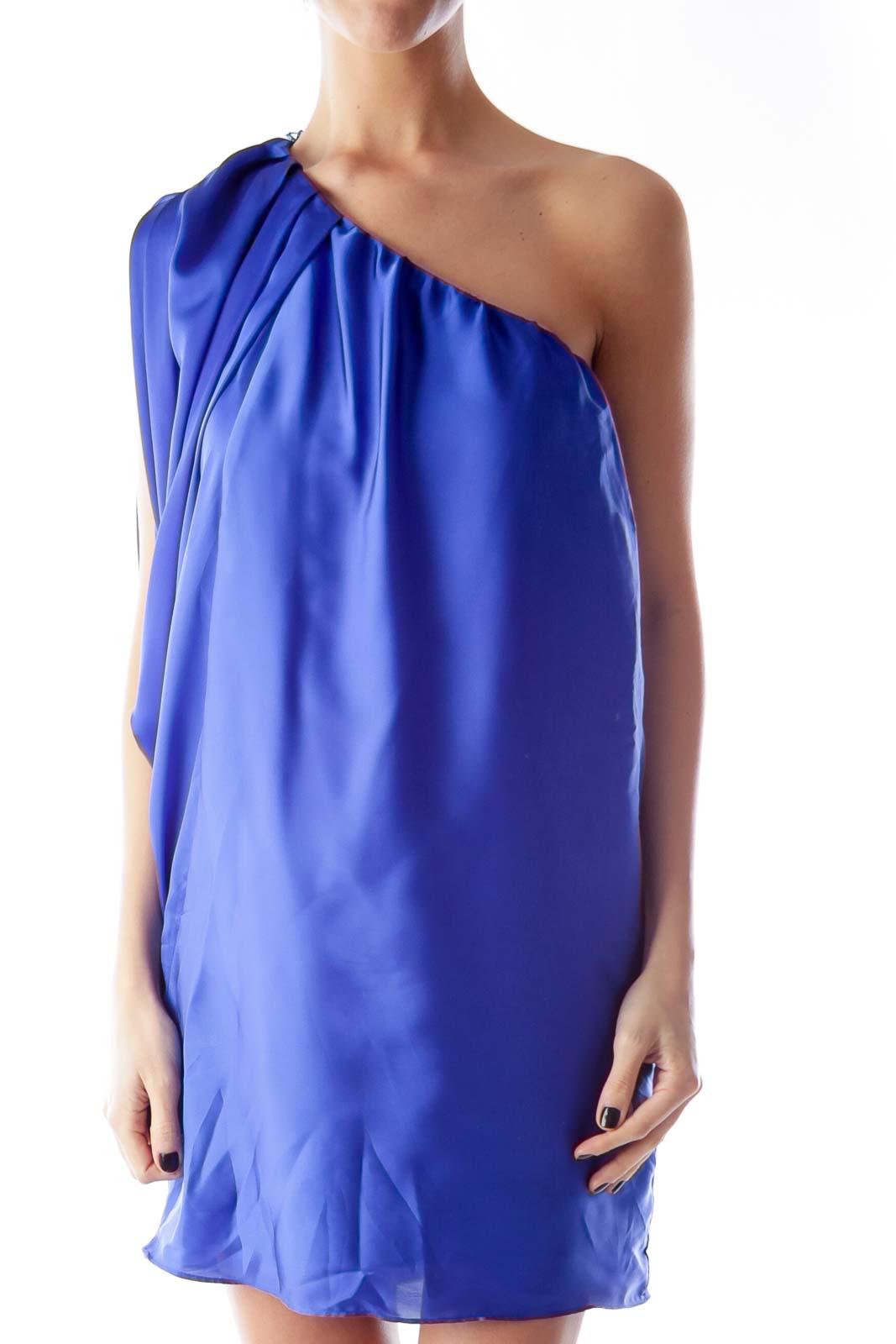 Blue One Shoulder Satin Dress