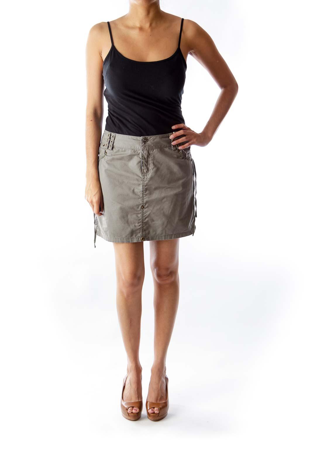 Army Green Studded Mini Skirt