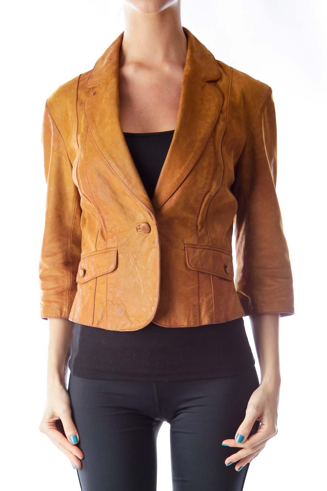Camel Cuir Leather Jacket