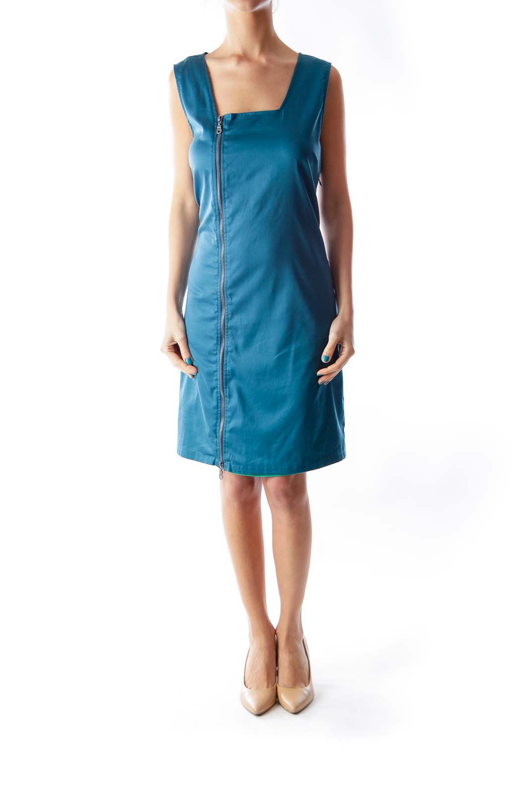 Blue Side Zipper Dress