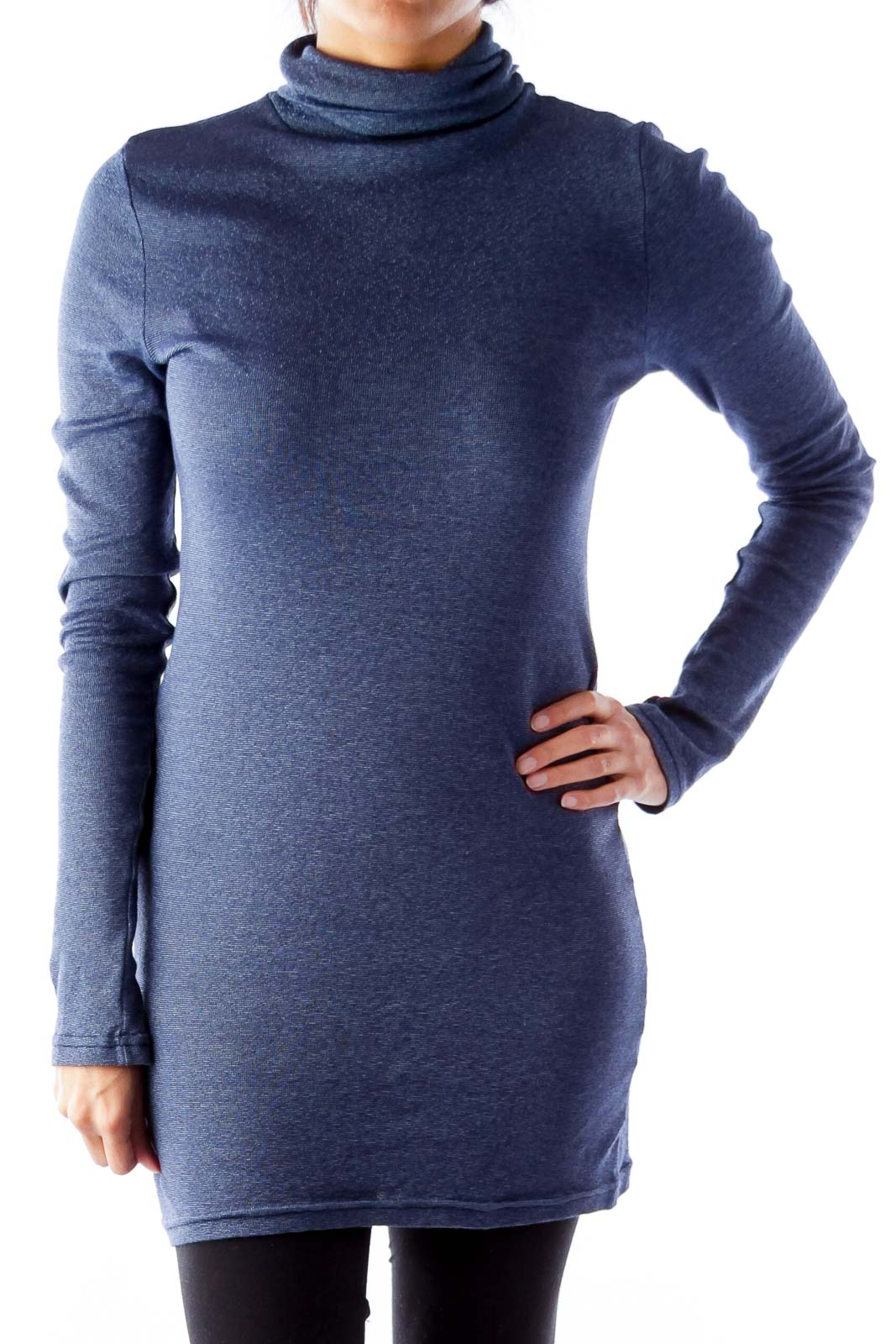 Blue Metallic Turtleneck Shirt