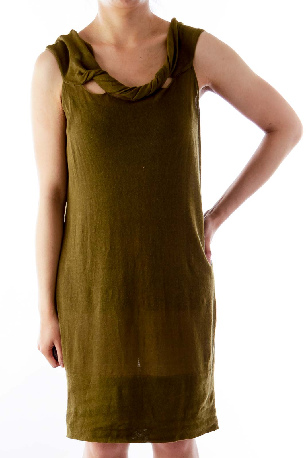 Army Green Open Back Shirt