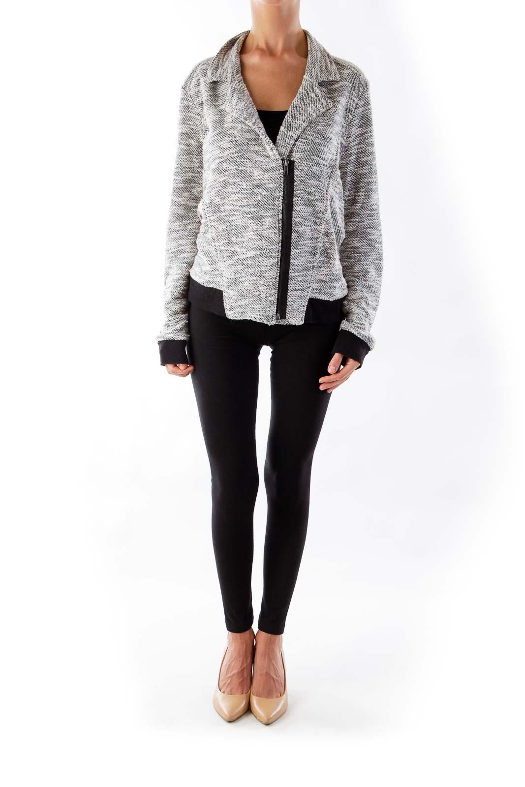 Black & Withe Zipper Jacket